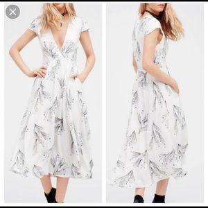 Free People Printed Retro Midi Dress